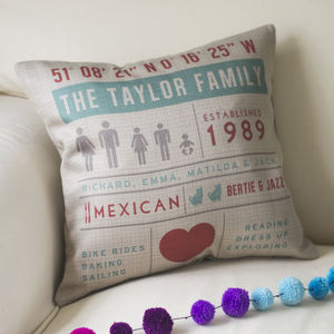 Personalised Family Infographic Cushion - home sale