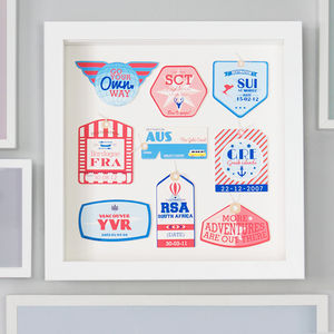 Personalised Retro Travel Tags - maps & locations
