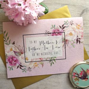 To My Mother And Father In Law Wedding Card - new in wedding styling