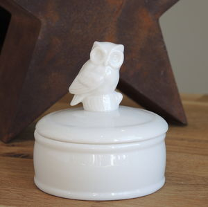 Ceramic Owl Trinket Box