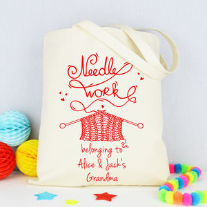 Personalised 'Grandma's' Knitting Bag - creative kits & experiences
