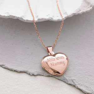 Personalised Rose Gold Heart Locket - gifts £25 - £50 for her