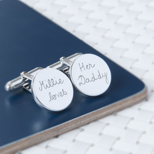 Father's Personalised Sterling Silver Round Cufflinks