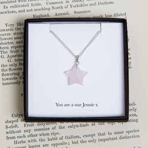 Personalised Rose Quartz Star Charm Necklace - children's accessories
