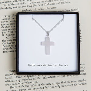 Personalised Rose Quartz Cross Charm Necklace