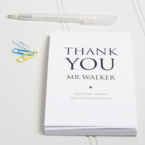Personalised Thank You Teacher Notepad - gifts for teachers