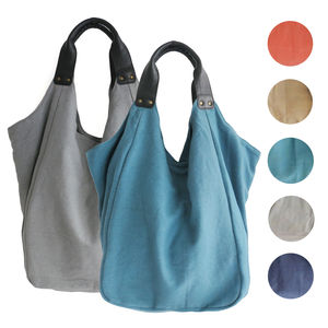 Hava Cotton Beach Bag With Leather Handles