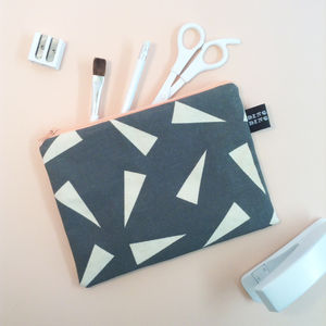 Triangle Print Canvas Pencil Case - gifts for teenagers