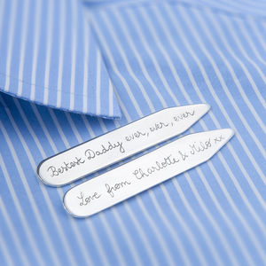 Personalised Sterling Silver Collar Stiffeners - jewellery & cufflinks