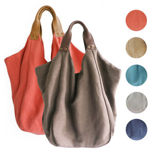 Hava Large Cotton Beach Bag With Leather Handles