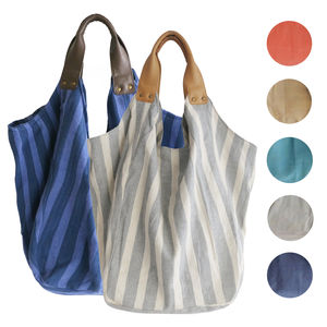 Hava Beach Bag With Leather Handles