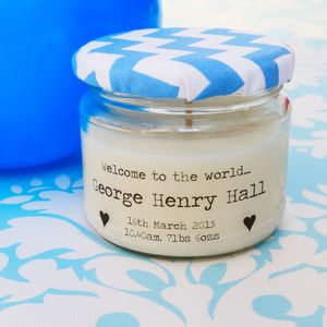 Personalised 'Welcome To The World' Candle Gift - home sale