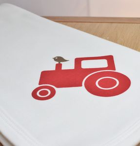Organic Baby Blanket Red Tractor - blankets, comforters & throws