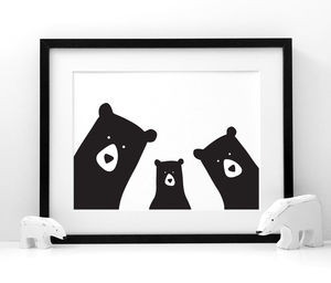 Family Bear 'Selfie' Portrait, Build Your Own, A3 Print - posters & prints for children