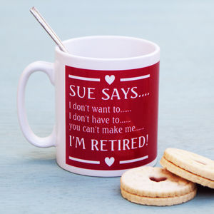 Personalised Pink Retirement Mug - mugs