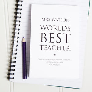 Personalised Worlds Best Teacher Notepad - gifts for teachers
