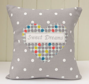 Personalised Clover Print Heart Cushion
