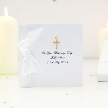 Gold Plated Cross Personalised Boxed Christening Card