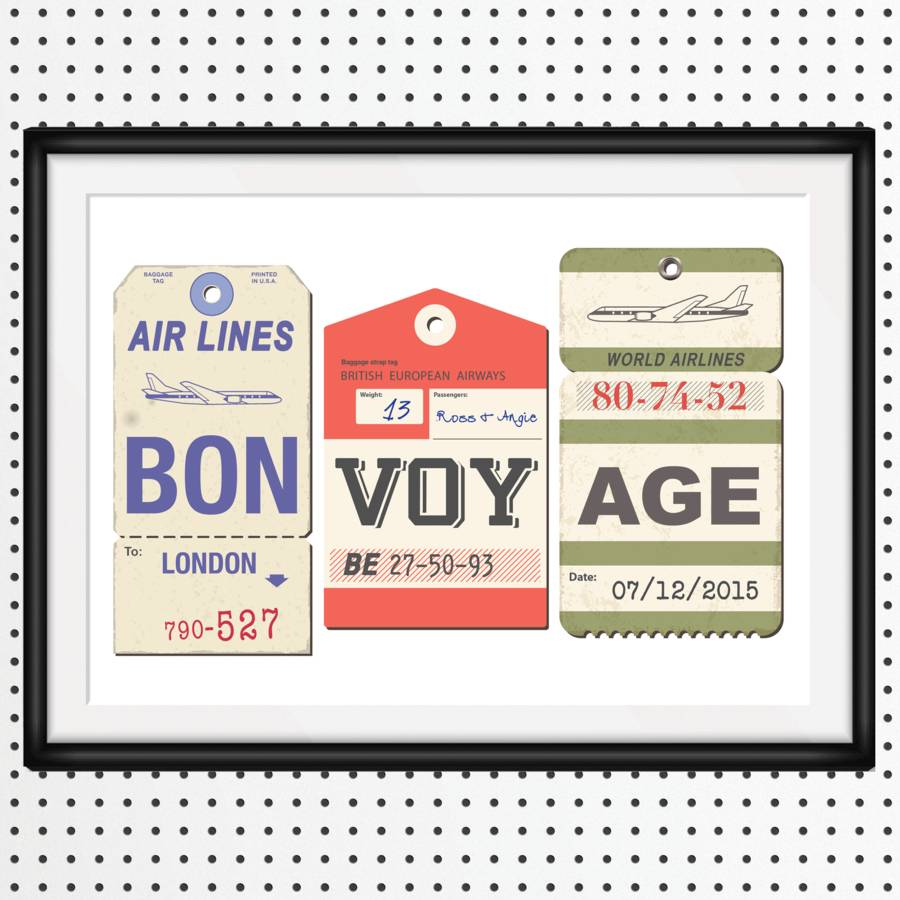 Personalised Bon Voyage Print By Of Life Amp Lemons