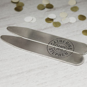 Personalised Sterling Silver Postmark Collar Stiffeners - men's accessories