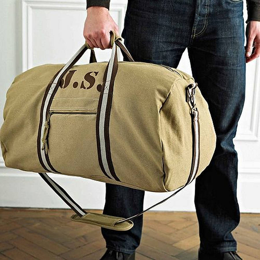 71eb0ac889c6 personalised vintage brown canvas holdall bag by sparks and ...