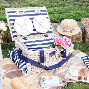 Hand Woven Wicker And Straw Picnic Hamper For Six