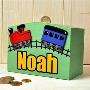 Personalised Money Box Train And Tracks