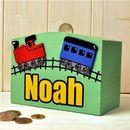 Personalised Money Box Train And Tracks