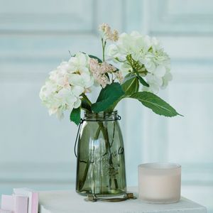 Hydrangea And Gypsophila Glass Jar - artificial flowers & plants