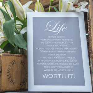 'Life Is Worth It' Block Mounted Print - posters & prints