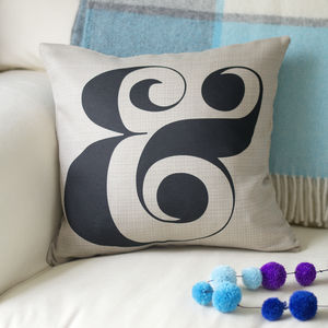 Monochrome Ampersand Cushion - living room
