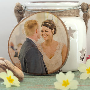 Personalised Wedding Photo Print On Natural Wood Slice - photography & portraits