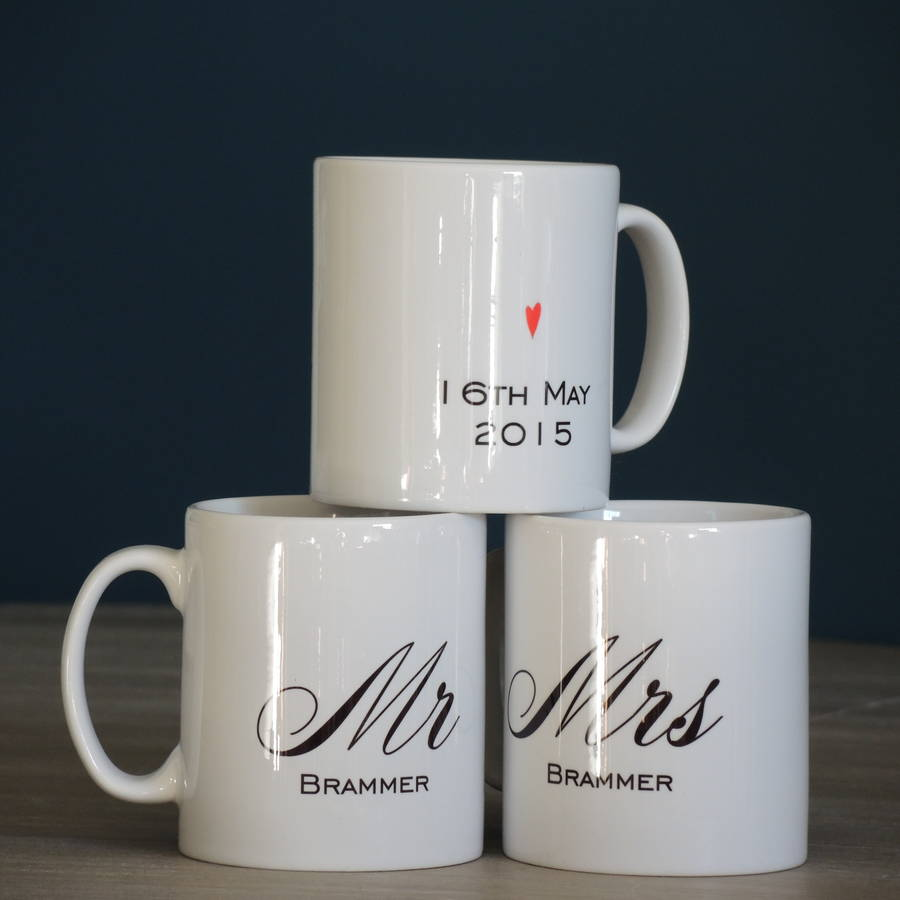 Wedding Gifts For Travel Couples The Ultimate List 2020: Personalised Mr And Mrs Wedding Mugs By The Alphabet Gift