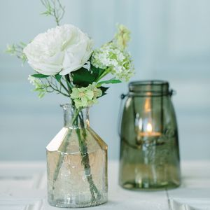 Peony Arrangement In Crackle Vase - centre pieces & flowers
