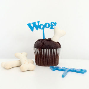 'Woof!' Dog Birthday Cake Toppers - cake decoration