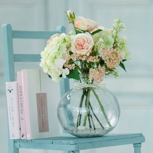 Rose, Hydrangea And Gypsophila Globe Vase - flowers & plants