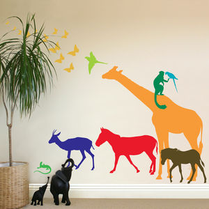 Nine Safari Animal Wall Stickers New Sizes - wall stickers
