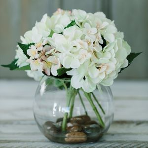 Hydrangea And Blossom Glass Bowl - artificial flowers & plants