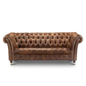 Bretby Three Seater Leather Sofa - living room