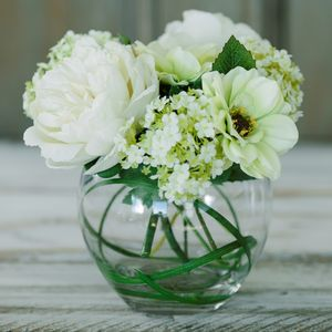 Peony, Dahlia And Snowball Glass Bowl - artificial flowers
