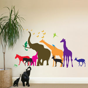 Thirteen Safari Animal Wall Stickers New Sizes