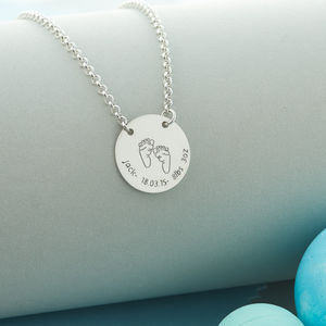 New Baby Celebration Personalised Silver Necklace - christening jewellery