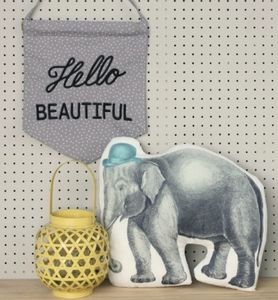 Illustrated Party Elephant Cushion - soft furnishings & accessories
