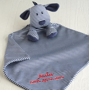Personalised Babies' Blue Stripe Puppy Comforter - blankets, comforters & throws
