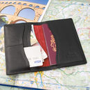 deluxe passport wallet in black leather with poppy suede lining