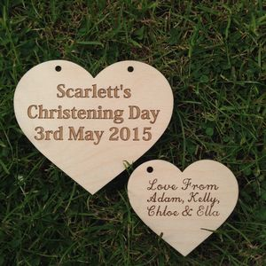 Christening Day Heart With Gift Tag - baby's room