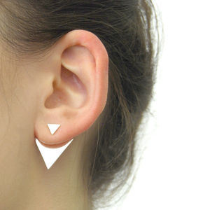 Geometric Triangle Two Way Sterling Silver Ear Jackets - earrings