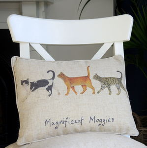 Personalised Magnificent Moggies Cat Cushion - cushions