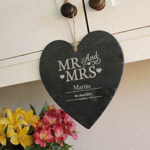 Personalised Mr And Mrs Slate Heart - best wedding gifts