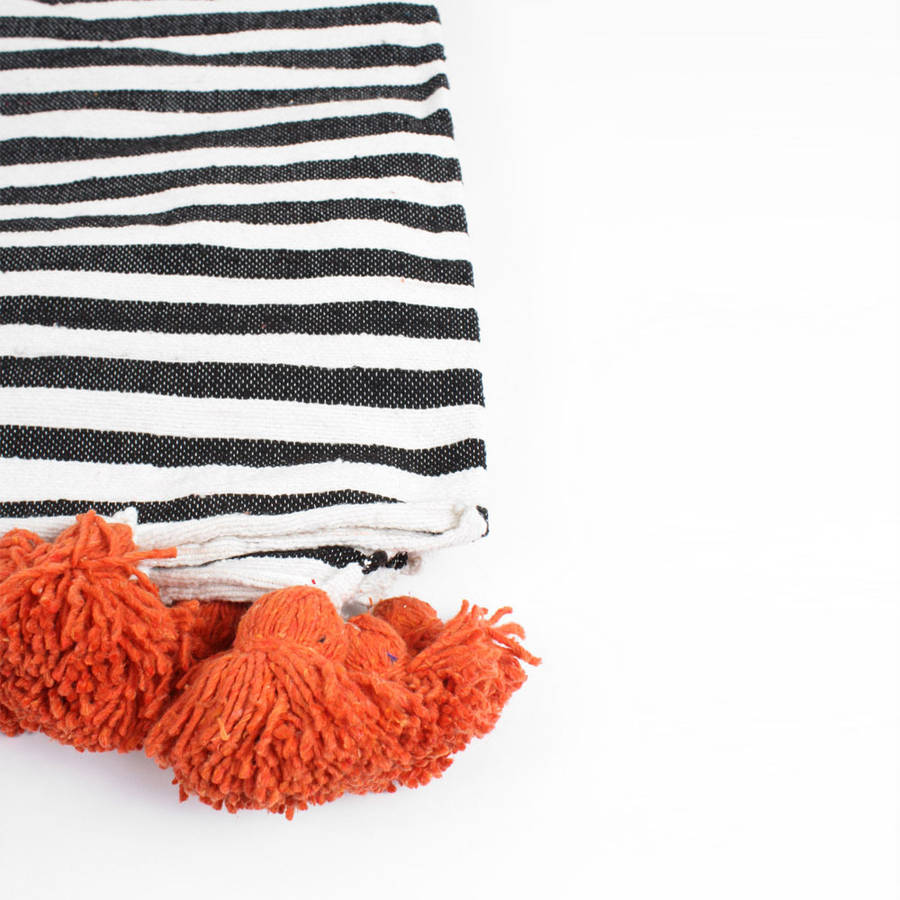 Cotton Stripe Pom Pom Blanket By Bohemia